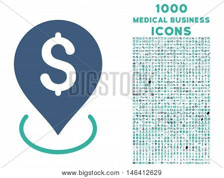 Bank Placement vector bicolor icon with 1000 medical business icons. Set style is flat pictograms cobalt and cyan colors white background.