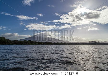 Mombacho volcano view from water in Nicaragua