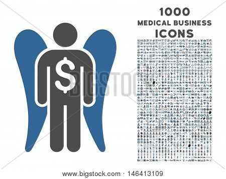 Angel Investor vector bicolor icon with 1000 medical business icons. Set style is flat pictograms cobalt and gray colors white background.
