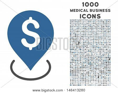 Bank Placement vector bicolor icon with 1000 medical business icons. Set style is flat pictograms cobalt and gray colors white background.