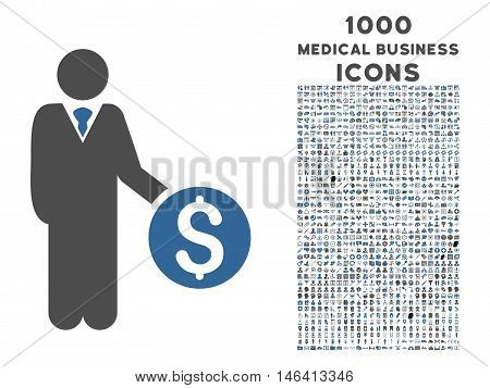 Banker vector bicolor icon with 1000 medical business icons. Set style is flat pictograms cobalt and gray colors white background.