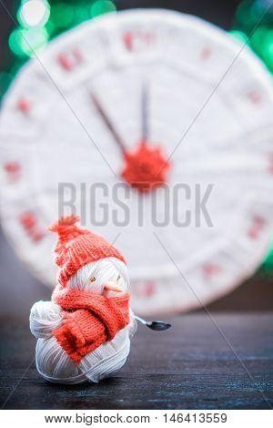 Yarn Snowman On The Table
