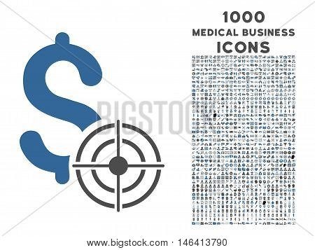 Business Target vector bicolor icon with 1000 medical business icons. Set style is flat pictograms cobalt and gray colors white background.