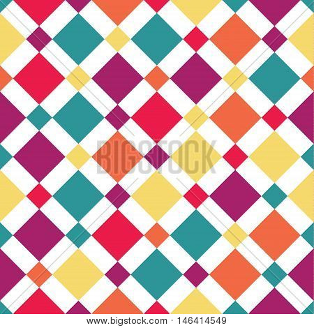 Seamless vector colorful fantasy rhombus pattern. Abstract pattern