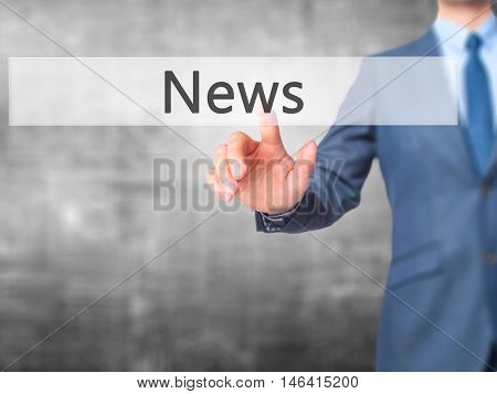News -  Businessman Press On Digital Screen.