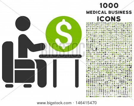Banker Office glyph bicolor icon with 1000 medical business icons. Set style is flat pictograms eco green and gray colors white background.