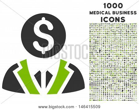 Banker glyph bicolor icon with 1000 medical business icons. Set style is flat pictograms eco green and gray colors white background.