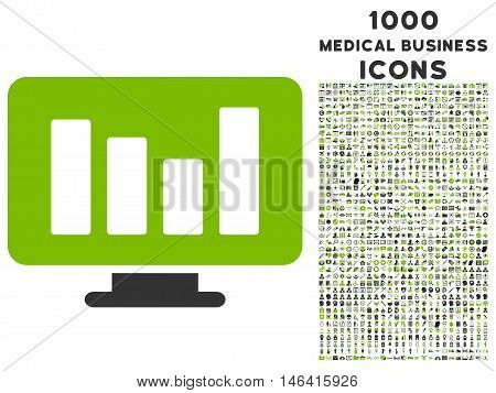Bar Chart Monitoring glyph bicolor icon with 1000 medical business icons. Set style is flat pictograms eco green and gray colors white background.