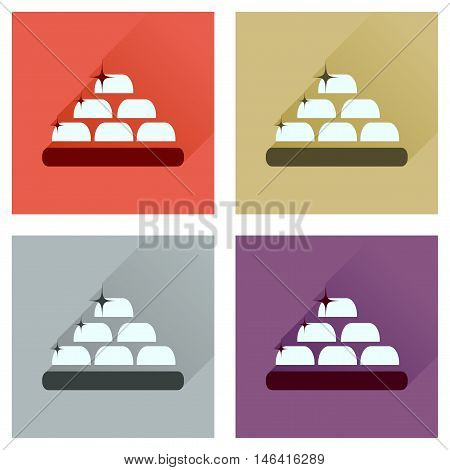 Concept of flat icons with long  shadow gold bullion