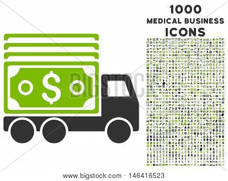 Cash Lorry glyph bicolor icon with 1000 medical business icons. Set style is flat pictograms, eco green and gray colors, white background.