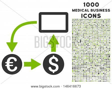 Cashflow Euro Exchange glyph bicolor icon with 1000 medical business icons. Set style is flat pictograms, eco green and gray colors, white background.