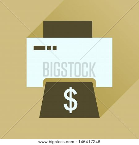Flat icon with long  shadow money printing
