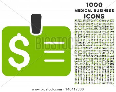 Dollar Badge glyph bicolor icon with 1000 medical business icons. Set style is flat pictograms, eco green and gray colors, white background.
