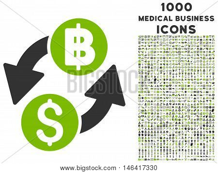 Dollar Baht Exchange glyph bicolor icon with 1000 medical business icons. Set style is flat pictograms, eco green and gray colors, white background.