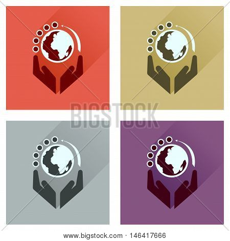 Concept of flat icons with long  shadow Earth hands