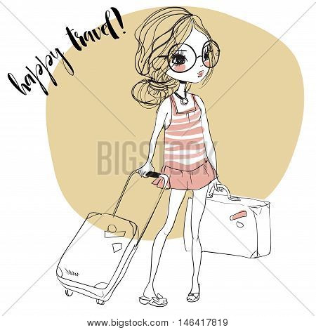cute summer girls with suitcases. Vector illustration