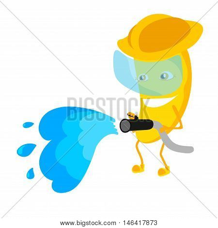 The banana firefighter cartoon characters with the yellow helmet. In his hands he holds a water hoses.