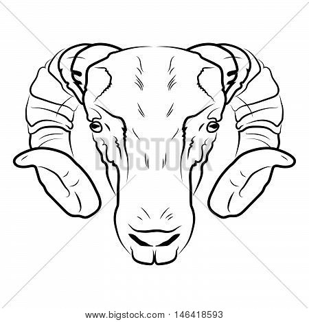 Ram head logo or icon in white for a mascot and T-shirt graphic.