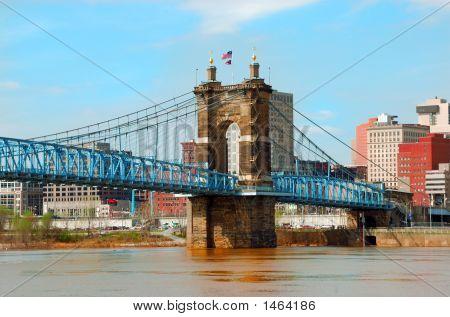 Historic Roebling Suspension Bridge, Cincinnati Ohio, Usa