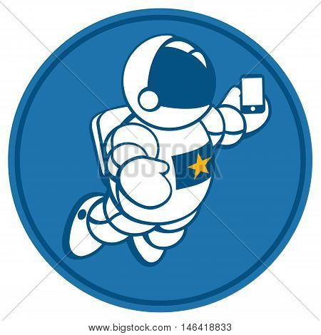Vector illustration of cosmonaut with smartphone in hand. Design concept. photos myself. selfie time.  character