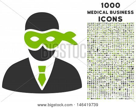 Masked Thief glyph bicolor icon with 1000 medical business icons. Set style is flat pictograms eco green and gray colors white background.