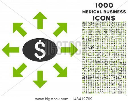 Mass Cashout glyph bicolor icon with 1000 medical business icons. Set style is flat pictograms eco green and gray colors white background.