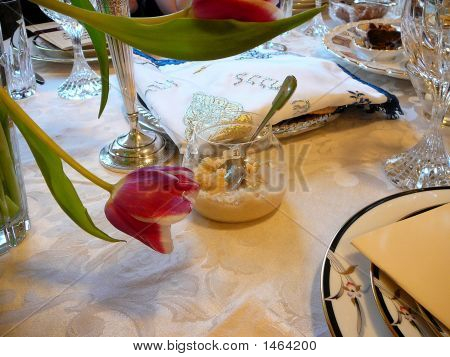 Elaborate Matzot Cover & Bitter Herbs At Traditional Passover Seder Table Setting