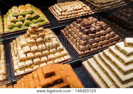 Eastern Sweets In A Wide Range, Baklava, Turkish Delight