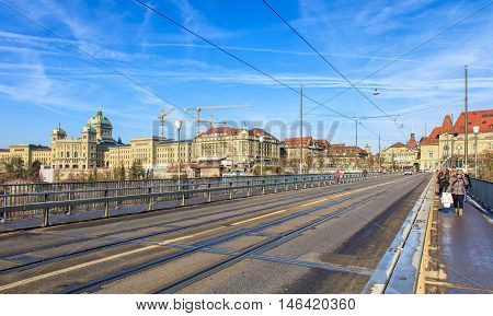 Bern, Switzerland - 29 December, 2015: view along the Kirchenfeld bridge, Federal Palace of Switzerland building in the background. The city of Bern is the capital of Switzerland and the fourth most populous city in the country.