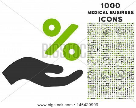 Percent Offer Hand glyph bicolor icon with 1000 medical business icons. Set style is flat pictograms eco green and gray colors white background.
