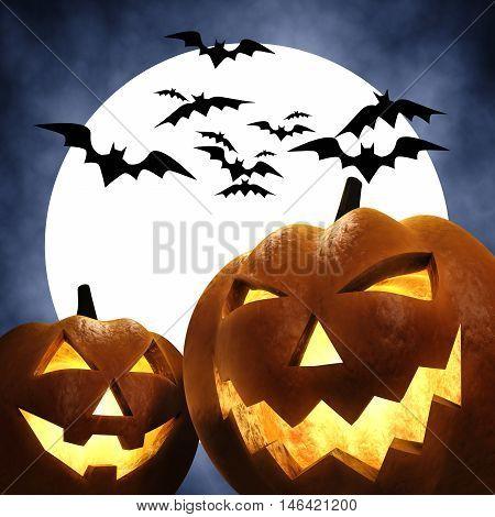 Halloween carved pumpkins scene , Jack-o-lantern , Trick or treat , 3d illustration