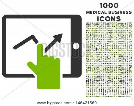 Tap Trend on Pda glyph bicolor icon with 1000 medical business icons. Set style is flat pictograms eco green and gray colors white background.