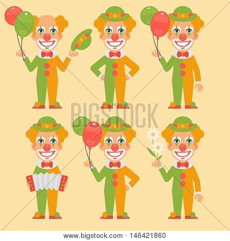 Vector Illustration, Clown Holding Balloons Flowers Accordion, Format EPS 8