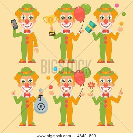 Vector Illustration, Clown Holding Money Cup Phone, Format EPS 8