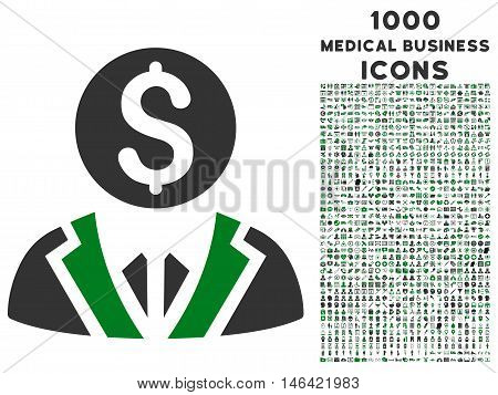 Banker glyph bicolor icon with 1000 medical business icons. Set style is flat pictograms green and gray colors white background.