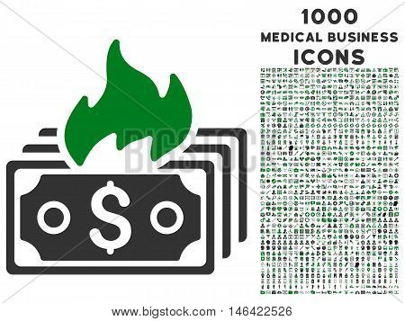 Burn Banknotes glyph bicolor icon with 1000 medical business icons. Set style is flat pictograms green and gray colors white background.
