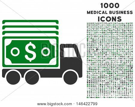 Cash Lorry glyph bicolor icon with 1000 medical business icons. Set style is flat pictograms green and gray colors white background.