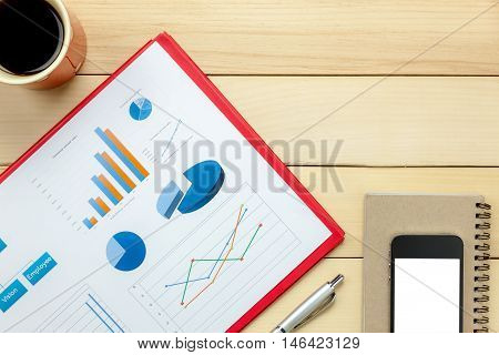 Top view chartered sheets pen coffee smart phone notebook on office desk background.