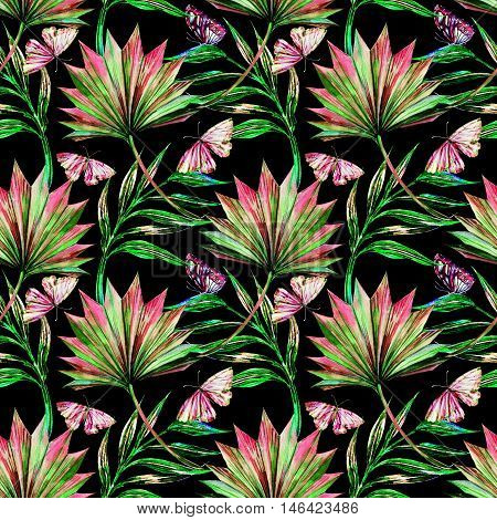 Watercolor tropical palm leaves, butterflies, seamless floral pattern background