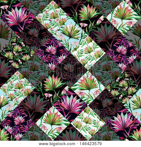Watercolor tropical palm leaves, butterflies, seamless floral pattern, botanical abstract geometric background, patchwork