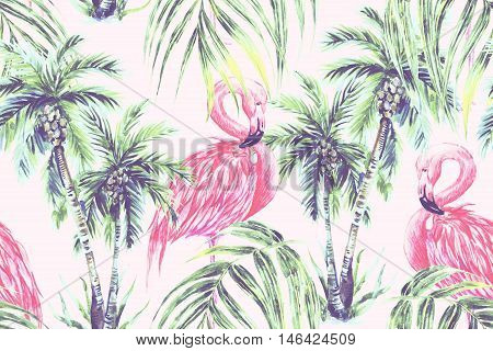 Watercolor pink flamingos, exotic birds, tropical palm leaves, trees, seamless floral jungle summer pattern background