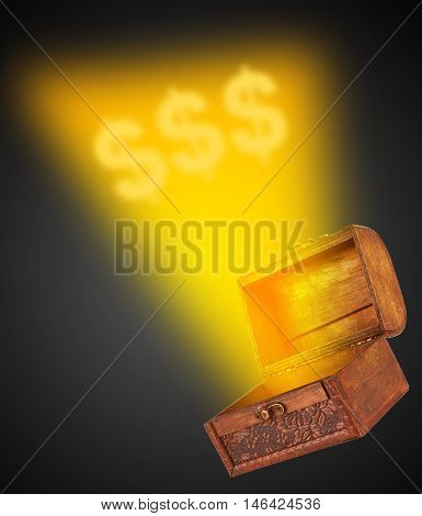 wooden treasure chest with a magical wispy light coming out of the box on a black background