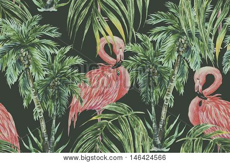 Watercolor pink flamingos, exotic birds, tropical palm leaves, trees seamless floral jungle summer pattern background