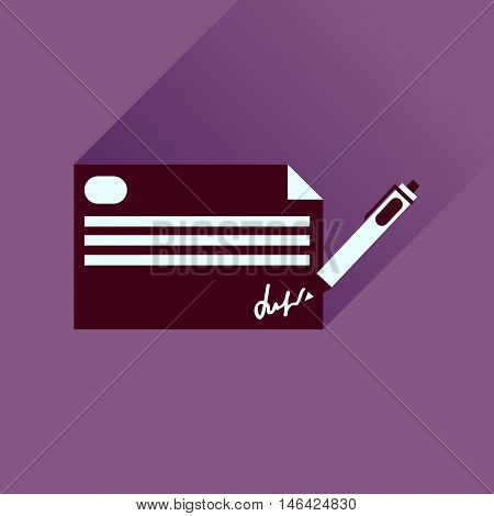 Flat icon with long  shadow bank check