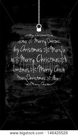 christmas card with white christmas ball from text duotone dark grunge background with place for your text