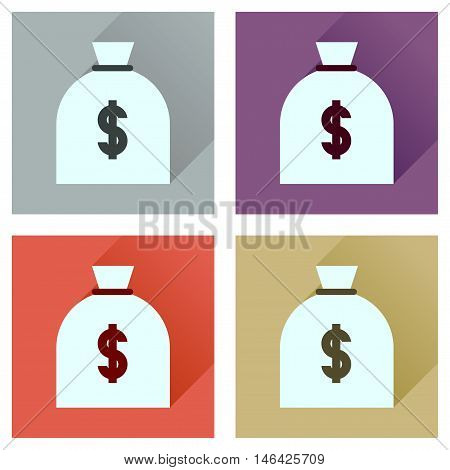 Concept flat icons with long  shadow money bag