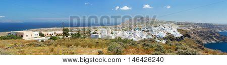 Fira is the capital of Santorini island Greece. Panoramic view on island