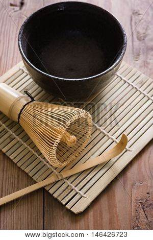 Items for making Japanese Matcha green tea in a traditional tea ceremony