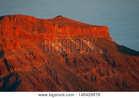 View of the mountains in the national park of Teide, Tenerife, Canary islands, Spain. Sunset light