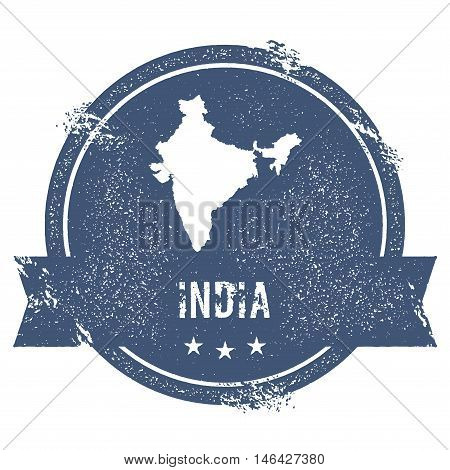 India Mark. Travel Rubber Stamp With The Name And Map Of India, Vector Illustration. Can Be Used As